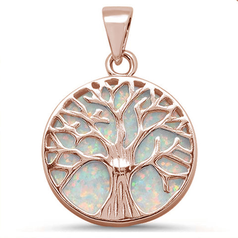 Rose Gold Plated Round White Opal Tree of Life Design .925 Sterling Silver Pendant