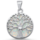 Round White Opal Tree of Life Design .925 Sterling Silver Pendant