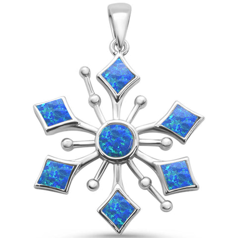 Round Blue Opal Snowflake Design .925 Sterling Silver Pendant