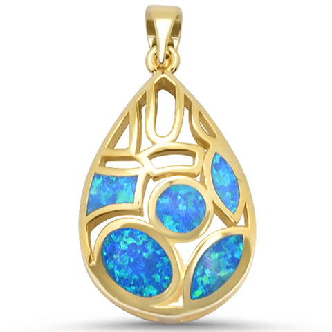 Yellow Gold Plated Blue Opal Design .925 Sterling Silver Pendant