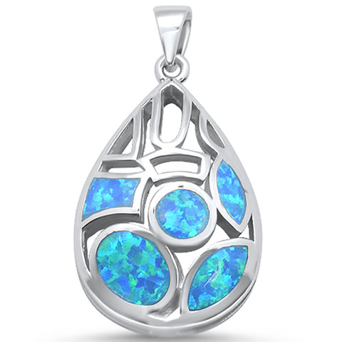 New Blue Opal Design .925 Sterling Silver Pendant