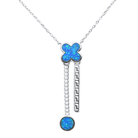 Blue Opal Dangling Round & Flower Design .925 Sterling Silver Pendant