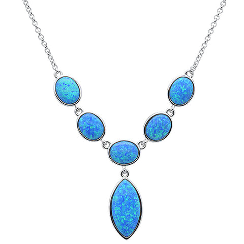 New Blue Opal Pendant Necklace .925 Sterling Silver Pendant
