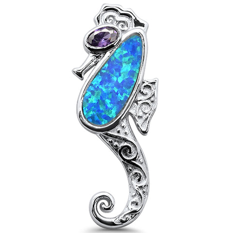 Blue Opal Sea horse .925 Sterling Silver Charm Pendant