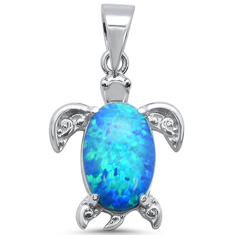 Blue Opal Turtle .925 Sterling Silver Charm Pendant