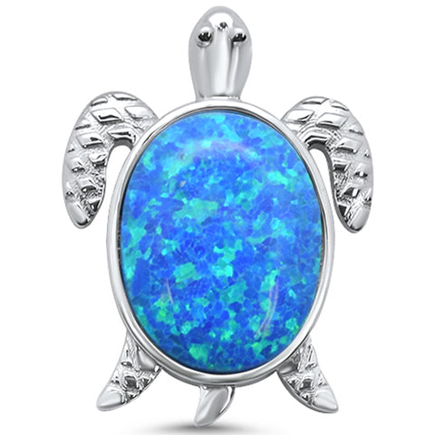 Blue Opal Oval Turtle .925 Sterling Silver Charm Pendant