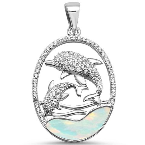 White Opal Dolphin & Cubic Zirconia .925 Sterling Silver Pendant