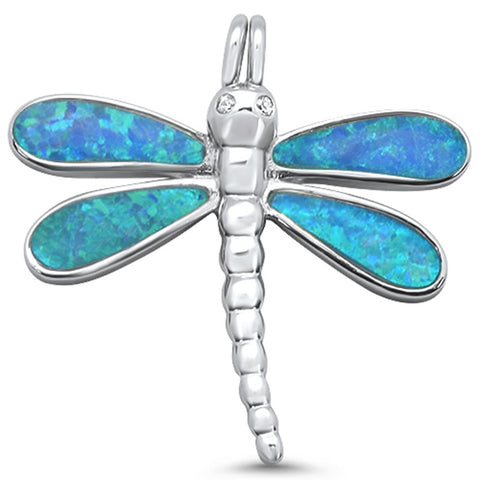 Blue Opal Dragonfly .925 Sterling Silver Charm Pendant