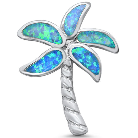 Blue Opal Beach Palm Tree .925 Sterling Silver Charm Pendant