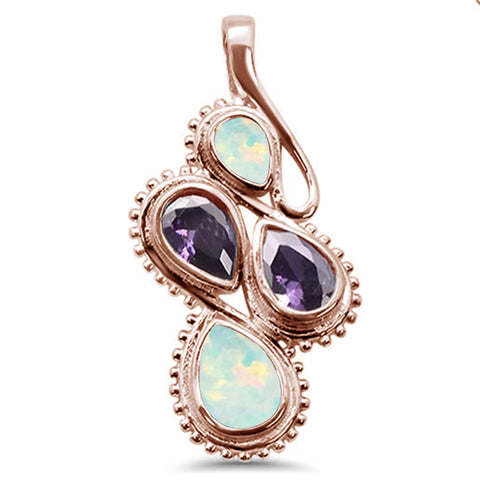 Rose Gold Plated White Opal Amethyst Pear .925 Sterling Silver Pendant