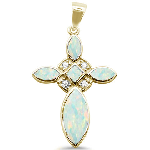 Yellow Gold Plated White Opal Cross & Cz .925 Sterling Silver Charm Pendant