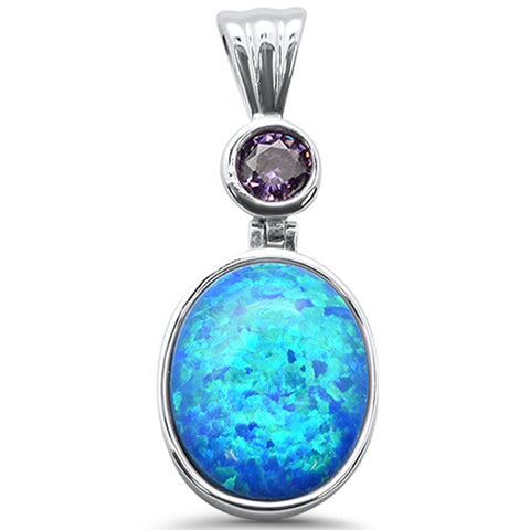 Blue Opal Oval .925 Sterling Silver Charm Pendant
