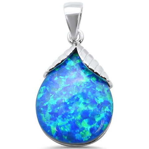 Blue Opal Pear .925 Sterling Silver Charm Pendant