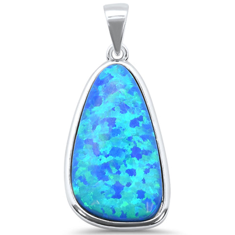 Blue Opal .925 Sterling Silver Charm Pendant