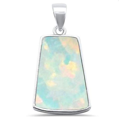 White Opal  .925 Sterling Silver Pendant