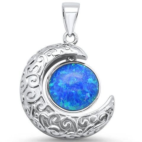 Blue Opal Crescent Moon .925 Sterling Silver Charm Pendant