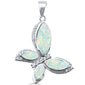 White Opal Butterfly .925 Sterling Silver Pendant