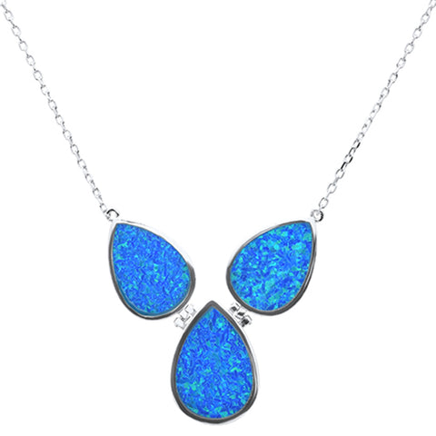 "New Pear Blue Opal .925 Sterling Silver Pendant Necklace 18"" Long"
