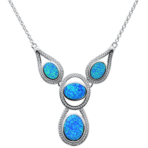 "New Blue Opal .925 Sterling Silver Pendant Necklace 18"" Long"