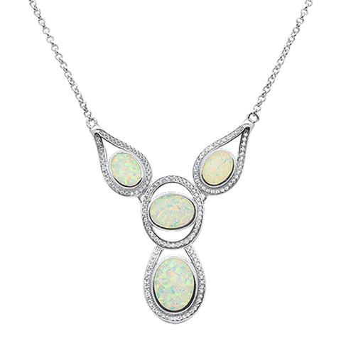 "New White Opal .925 Sterling Silver Pendant Necklace 18+1"" Long 1 ext"