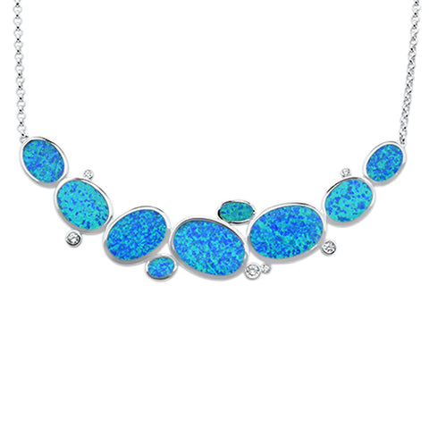 "Blue Opal & Cubic Zirconia .925 Sterling Silver Pendant Necklace 18"" Long"