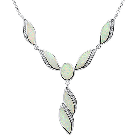 "White Opal & Cubic Zirconia .925 Sterling Silver Pendant Necklace 18+1"" Long 1 ext"