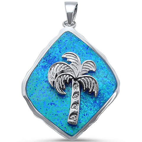 Blue Opal Solid Palm Tree .925 Sterling Silver Pendant