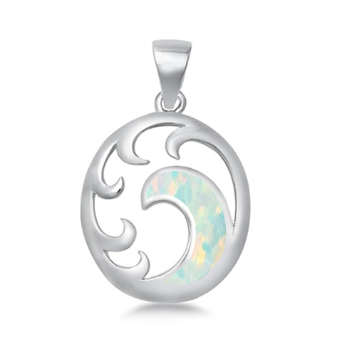 White Opal ocean wave  .925 Sterling Silver Charm Pendant