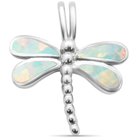 White Opal Dragonfly .925 Sterling Silver Charm Pendant
