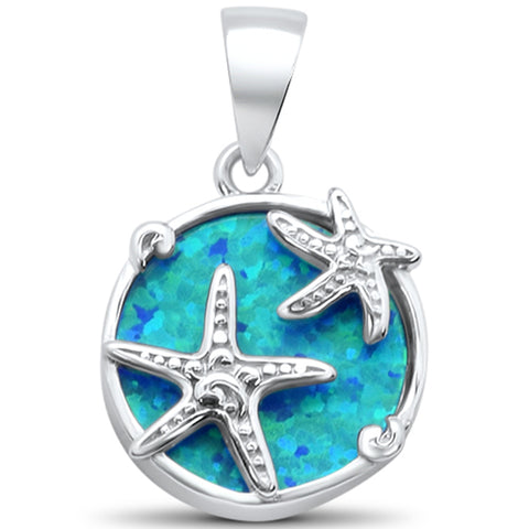 Blue Opal Starfish .925 Sterling Silver Charm Pendant