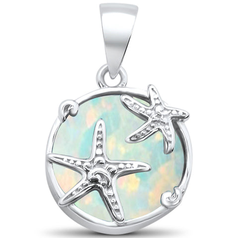 White Opal Starfish .925 Sterling Silver Charm Pendant