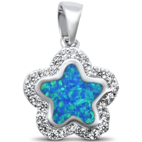 New Blue Opal & Cubic Zirconia Star .925 Sterling Silver Charm Pendant