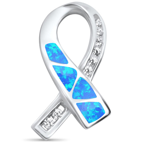 Blue Opal Breast Cancer Awareness Ribbon .925 Sterling Silver Charm Pendant