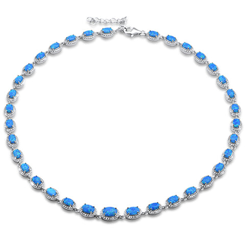 "Blue Opal & Cubic Zirconia .925 Sterling Silver Necklace 16"" Long"