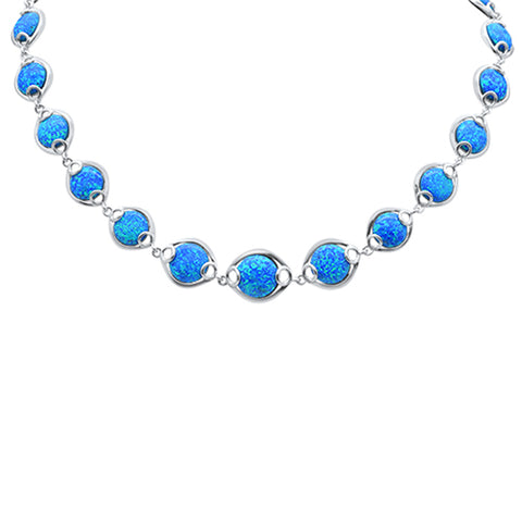"Blue Opal .925 Sterling Silver Necklace 16"" + 1.5"" Ext"