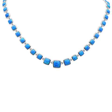 Blue Opal .925 Sterling Silver Necklace