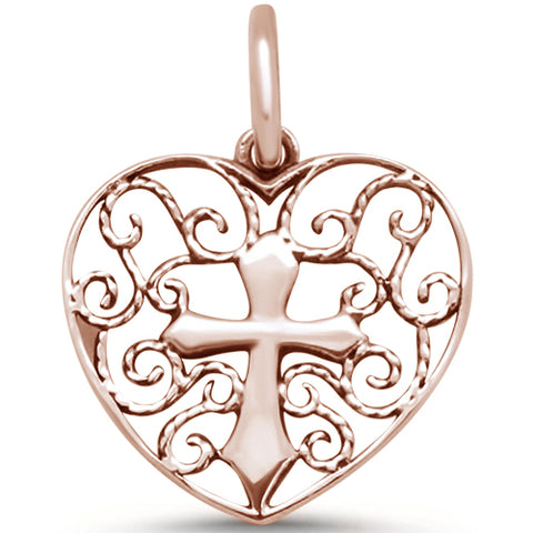 Rose Gold Plated Filigree Design Heart with Cross .925 Sterling Silver Pendant