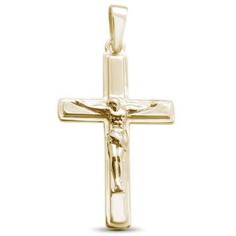 Yellow Gold Plated Solid Plain Jesus Cross .925 Sterling Silver Pendant