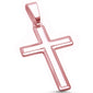 Rose Gold Plated Solid Cross .925 Sterling Silver Pendant