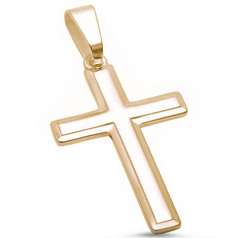 Yellow Gold Plated Solid Cross .925 Sterling Silver Pendant