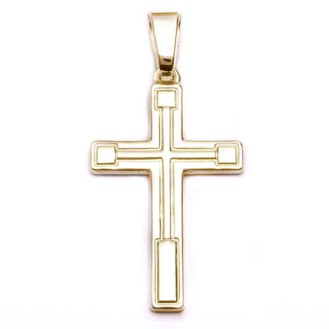 Yellow Gold Plated Hand Carved Solid Cross .925 Sterling Silver Pendant