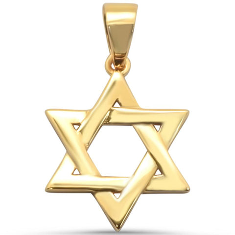 "Yellow Gold Plated Star of David .925 Sterling Silver Charm Pendant 1"" Long"