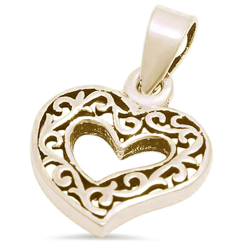 Fancy Design Heart .925 Sterling Silver Pendant