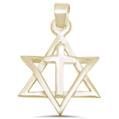Yellow Gold Plated Star Of David with Cross .925 Sterling Silver Pendant
