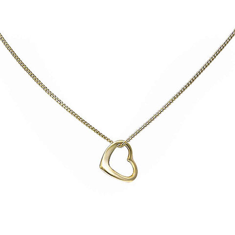 Yellow Gold Plated Heart .925 Sterling Silver Pendant Necklace