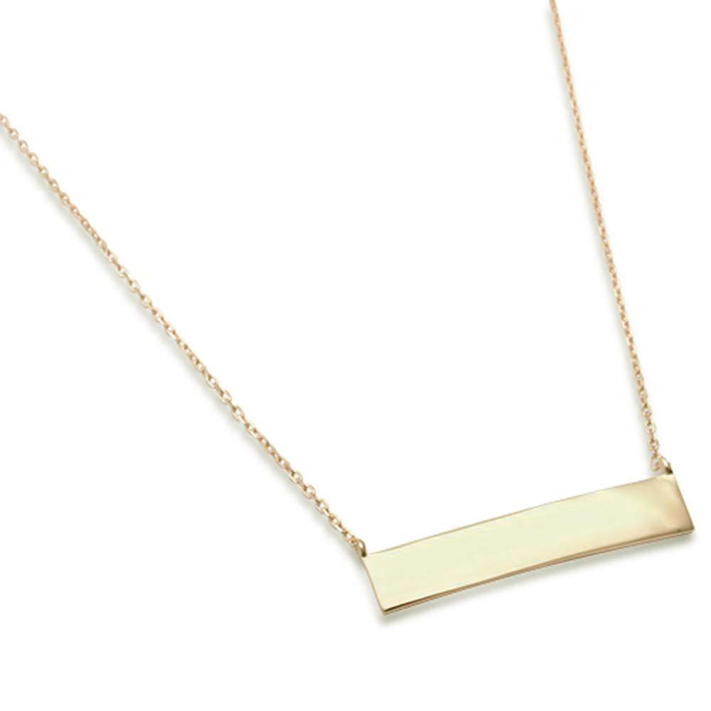 Yellow Gold Plated Necklace with Engraveable Bar .925 Sterling Silver Necklace