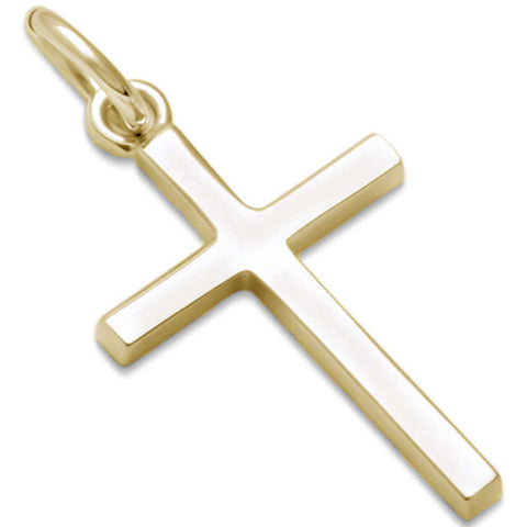 Yellow Gold Plated Small Plain Cross .925 Sterling Silver Pendant