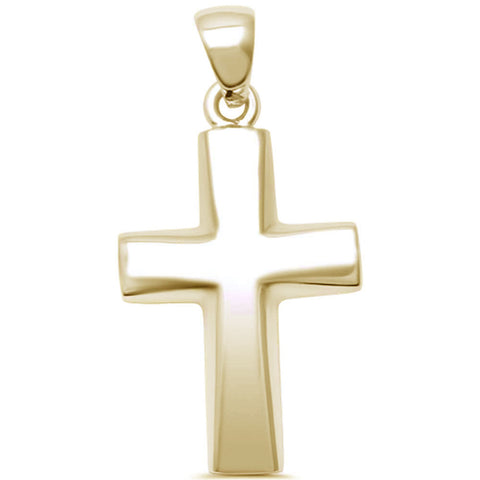 Yellow Gold Plated Plain Cross  .925 Sterling Silver Pendant