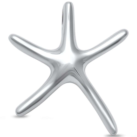 Small Plain Starfish .925 Sterling Silver Pendant
