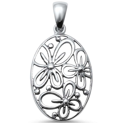 Plain Flower Design .925 Sterling Silver Pendant